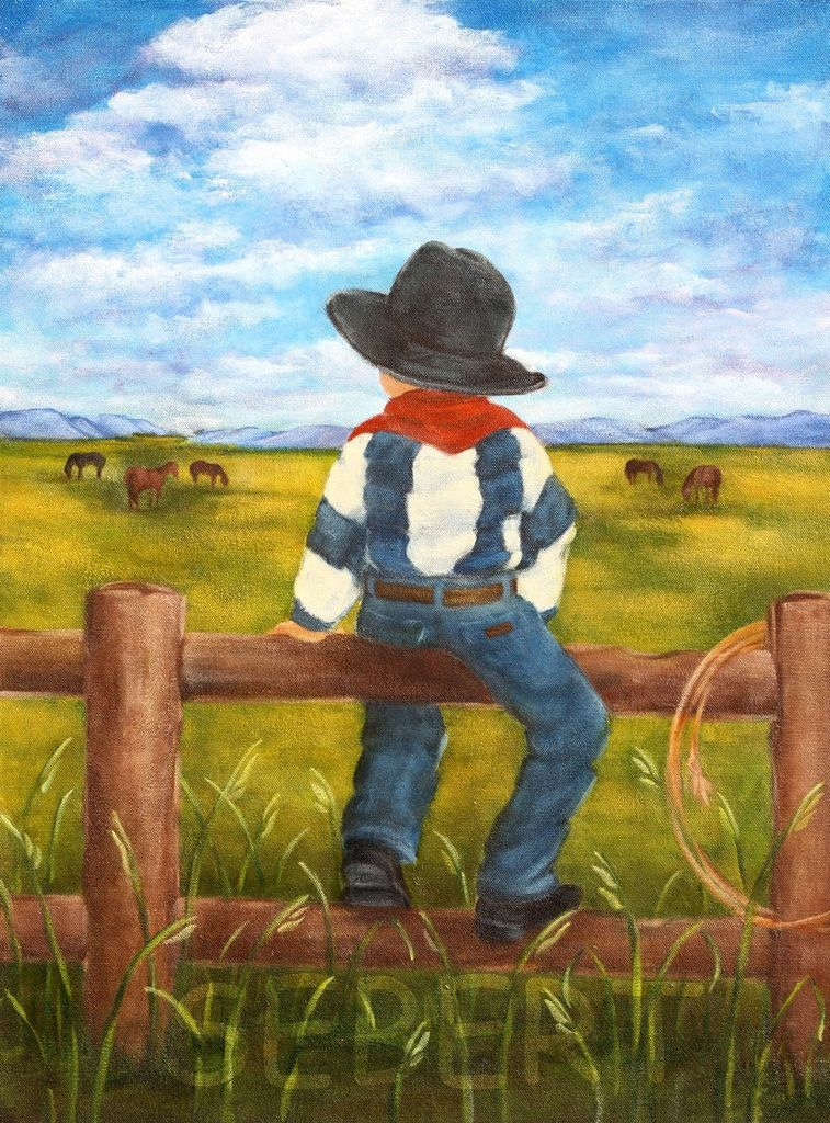 Boy Cowboy Painting Country Boy Wall Art by MyBarefootStudio | ~baby ...