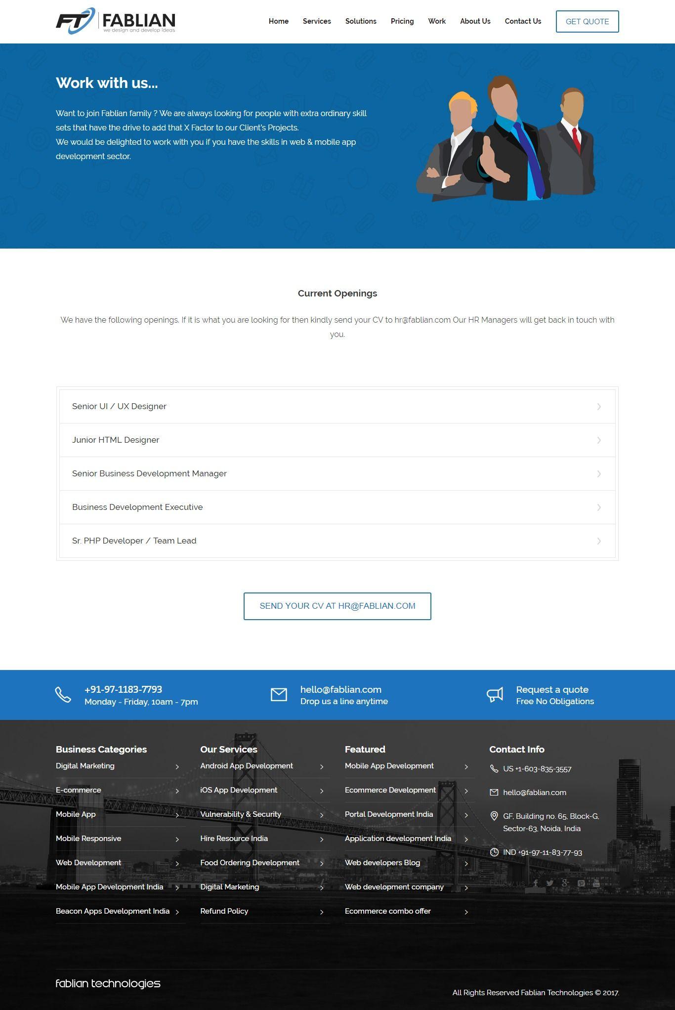 Current Opening In Websites Development App Development Hr Management