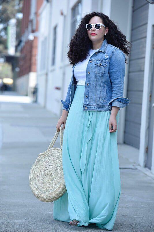 Light Blue Maxi Skirt With Jeans Jacket | Plus Size Fashion