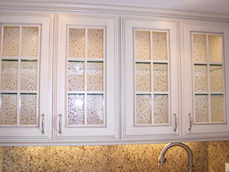 Cabinet Doors With Glass Textured Art Glass Inserts And
