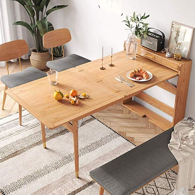 Xinjin Wall-MountedTable, Wall-Mounted Floor Folding Table, Home Nordic Light Luxury Small Apartment SimpleSolid Wood Foot Dining Table Rectangular Modern Style Telescopic Wall Hanging Floor Dining