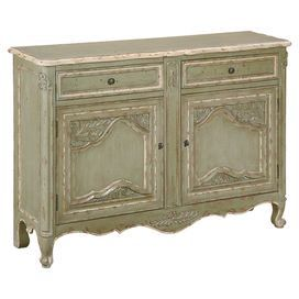 "2-door and 2-drawer sideboard with hand-carved acanthus leaf detailing and a distressed finish    Product: SideboardConstruction Material: WoodColor: Antique greenFeatures:  Adjustable shelves behind the doorsTwo spacious drawersScalloped designHand-carved leaf-inspired elements Dimensions: 35"" H x 52"" W x 12"" D"
