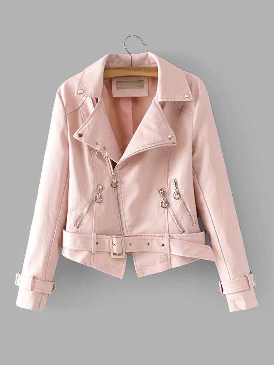 Faux Leather Belted Biker Jacket SHEIN Leather jackets