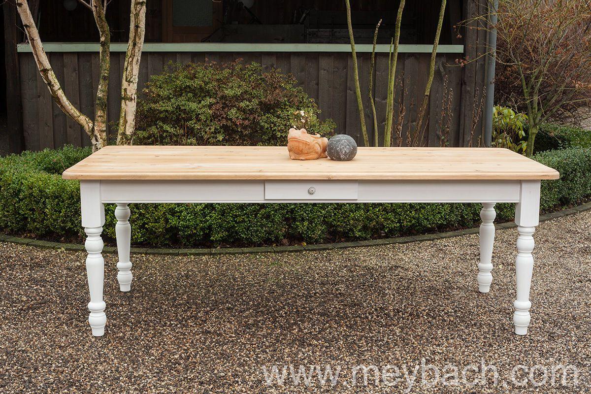 Esstisch Tisch Massivholz Kuche Landhaus 200 Cm Mod 01 Weiss Grau