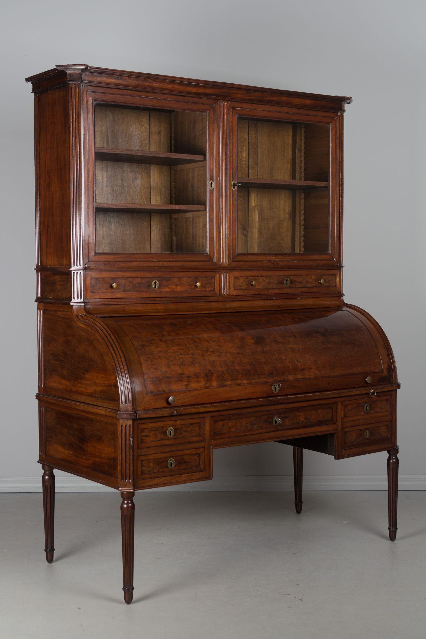 18th C Louis Xvi Bureau A Cyclindre Or Roll Top Desk Roll Top Desk Victorian Furniture Louis Xvi