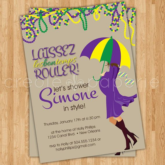 mardi gras digital baby shower invitation with customizable, Baby shower invitations