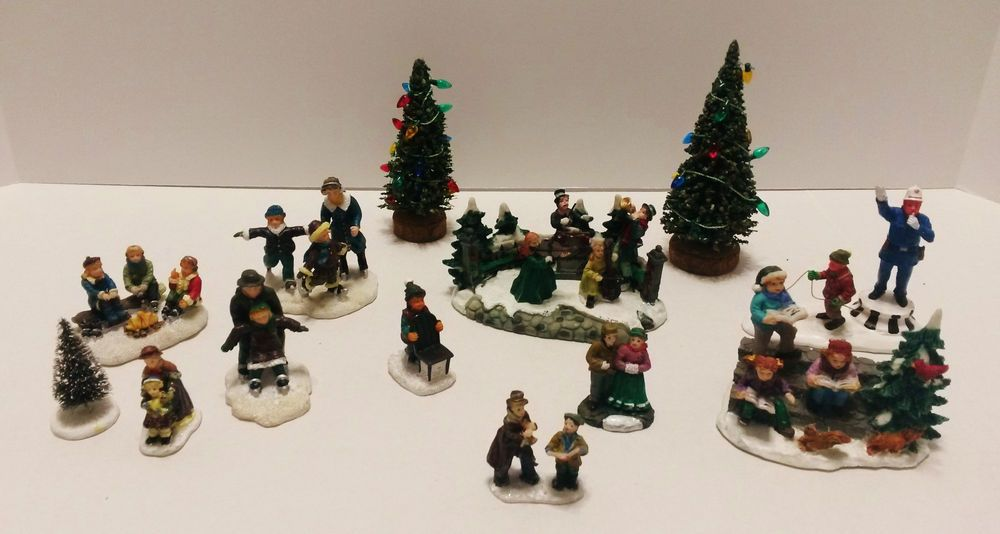 Lot Of 13 Christmas Village Figurines - 1 Lemax Policeman - 3 Trees & Skaters + More