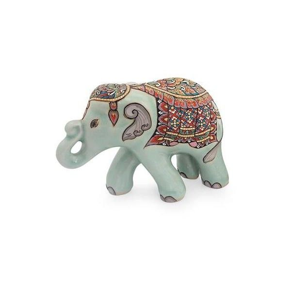Novica Thai Celadon Hand Painted Ceramic Elephant Figurine Small Elephant Figurines Ceramic Elephant Elephant Sculpture
