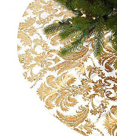 Dillards Ts 54 White And Gold Damask Christmas Tree Skirt