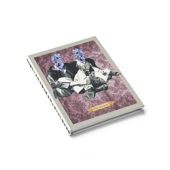 tarot card notebook  the lovers tarot card  ruled line