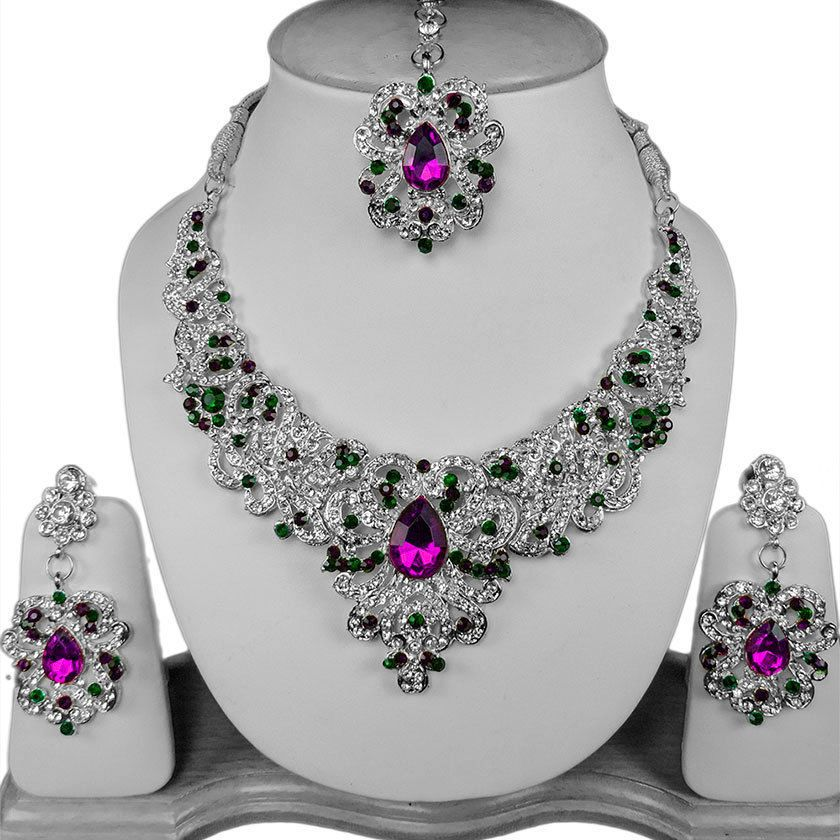 Silver Clear Indian Costume Jewellery Necklace Earrings: Green Purple Indian Bollywood Silver Plated Necklace Set