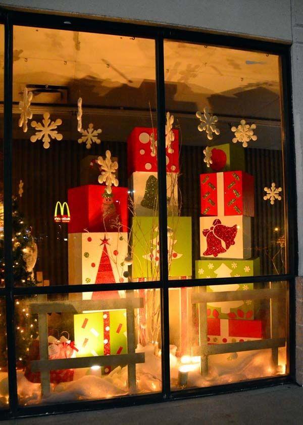 Big Gift Wrapped Boxes Christmas Window Display Christmas