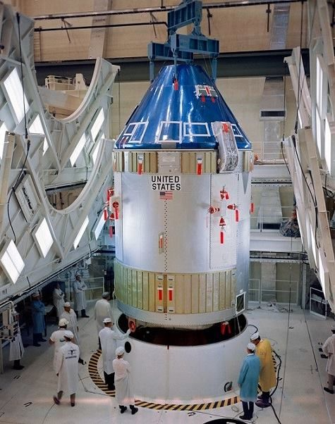 CSM for Apollo 7 being checked out in the KSC O&C Building on August 5…