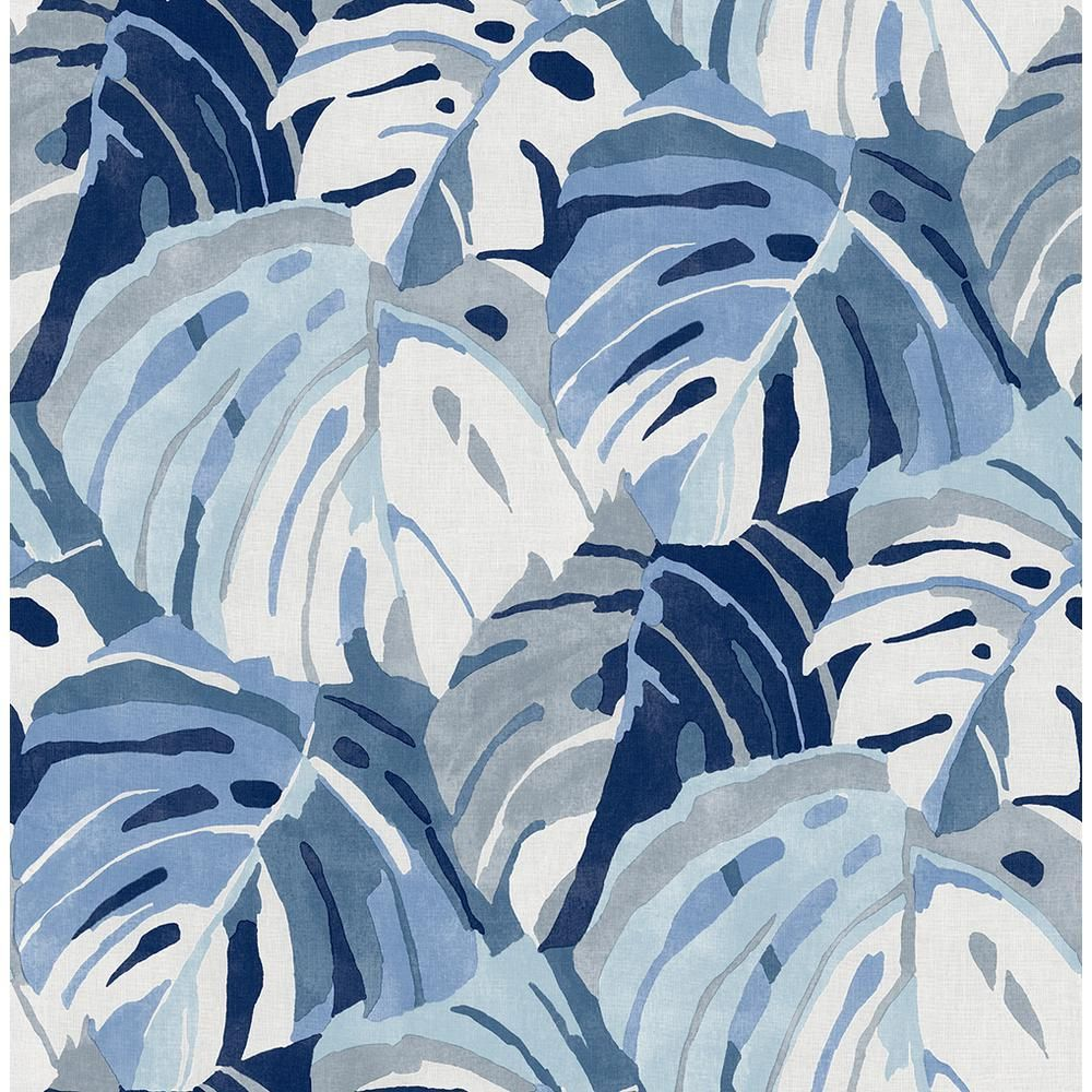 A-Street Samara Blue Monstera Leaf Paper Strippable Roll (Covers 56.4 sq. ft.)-2969-26007 - The Home Depot