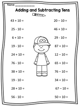 Adding and Subtracting Tens | Worksheets and Math