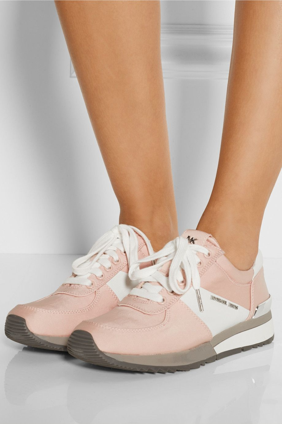 MICHAEL Michael Kors | Pink Allie Satin And Textured-Leather Sneakers
