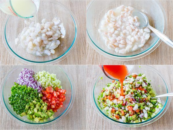 Ceviche is loaded with shrimp, avocados, tomatoes and cucumbers; all marinated in fresh lime juice.