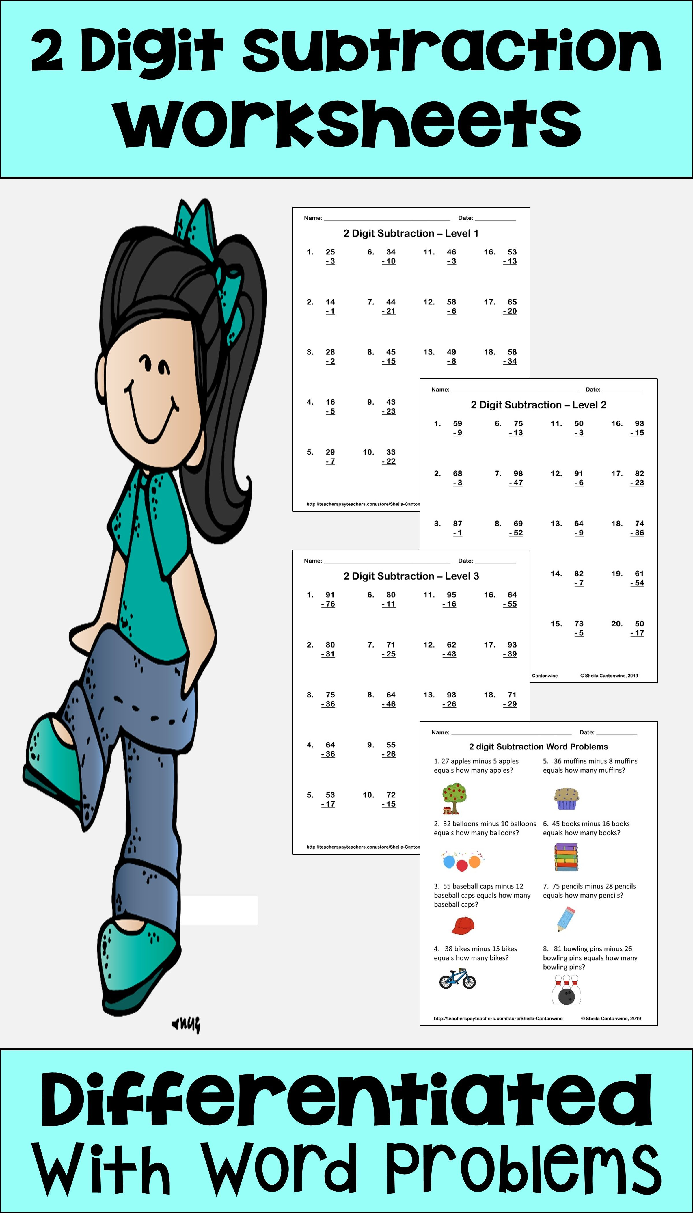 Subtraction Worksheets For 2 Digits With Regrouping And