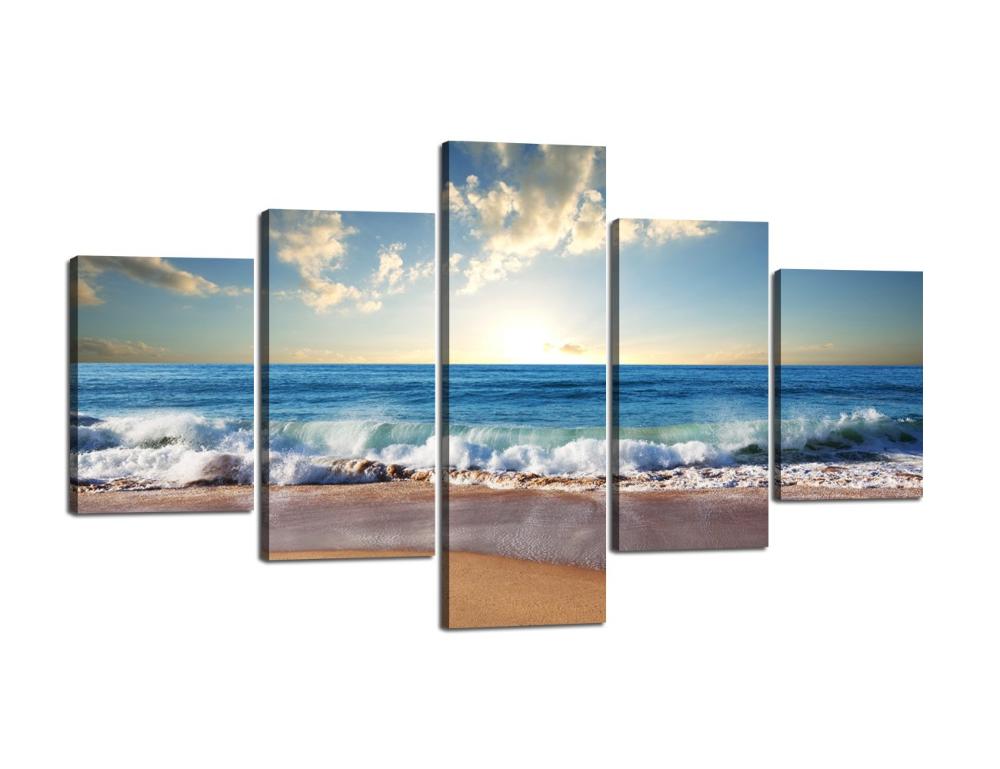 Seascape Beach Coast Sunset MULTI CANVAS WALL ART Picture Print