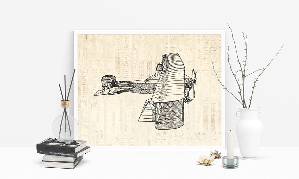Antique airplane print aviation themed vintage wall art vintage plane poster or print with a vintage