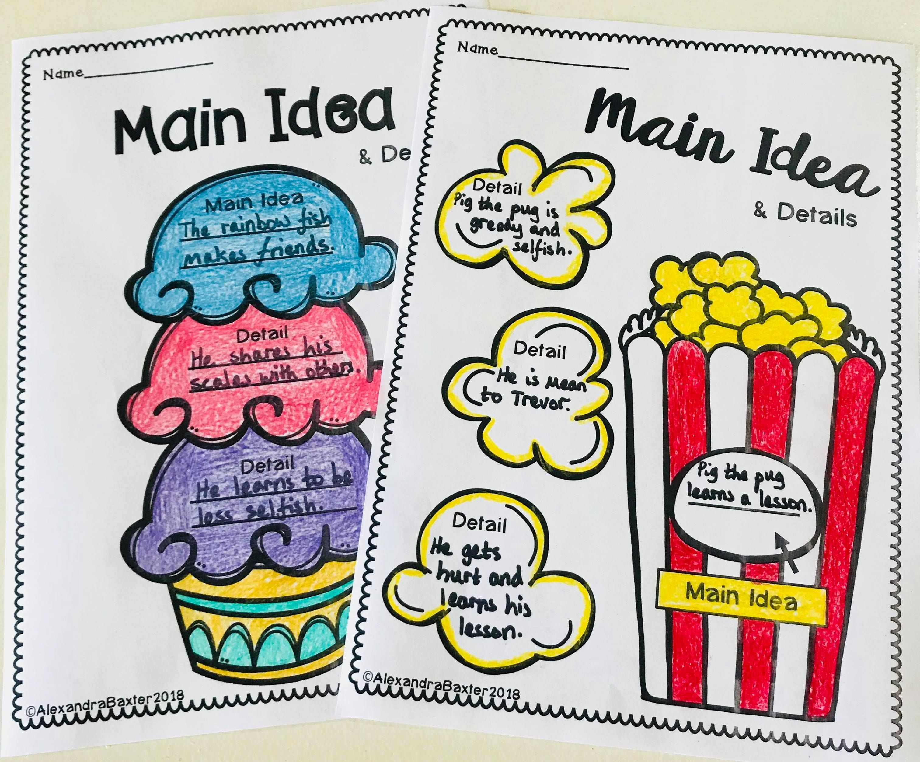 Main Idea Graphic Organizers Reading Response Worksheets