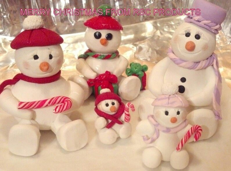 Snowman and Snow woman Polymer Clay