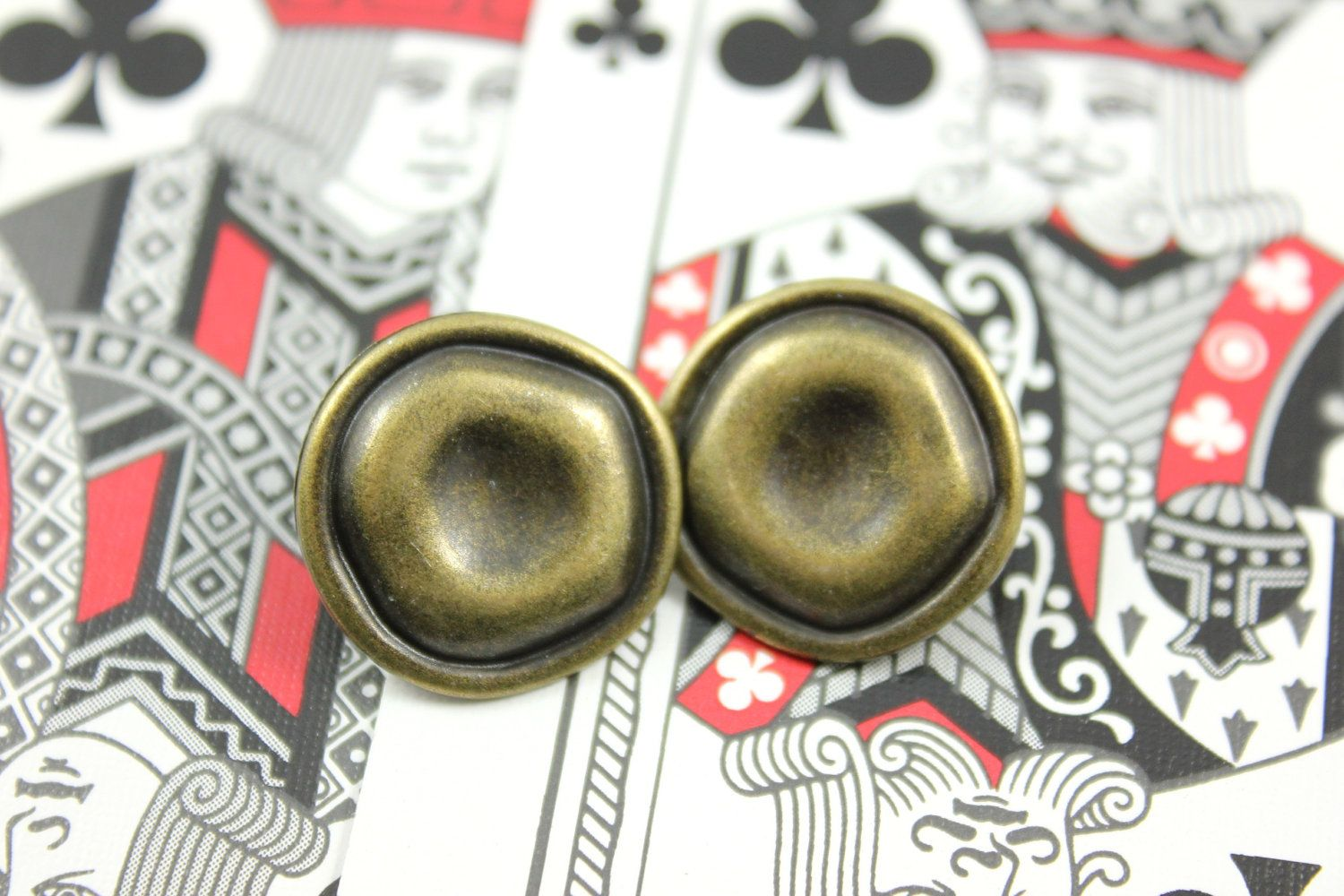 Caved Round Metal Buttons , Antique Brass Color , Shank , 0.79 inch , 10 pcs by Lyanwood, $6.00
