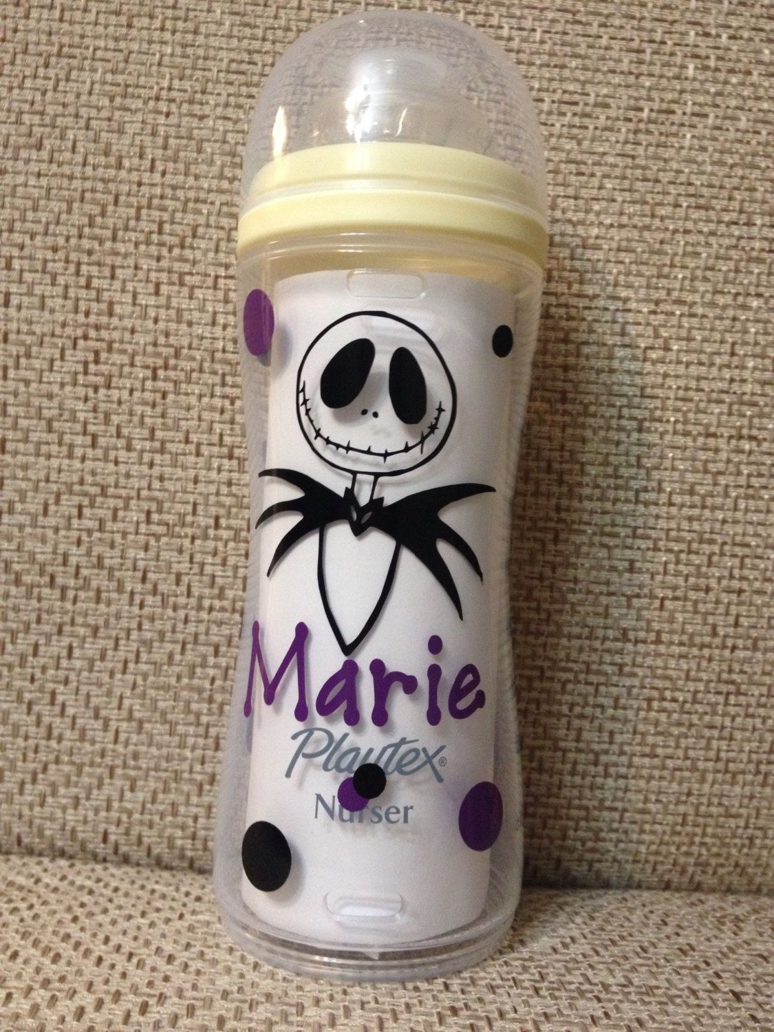 Personalized Jack Skellington Inspired Baby Bottle Playtex Avent