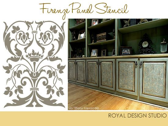 Stencils Help Enhance Cabinet Doors And Panels Tiffany Alexander Royal Design Studio