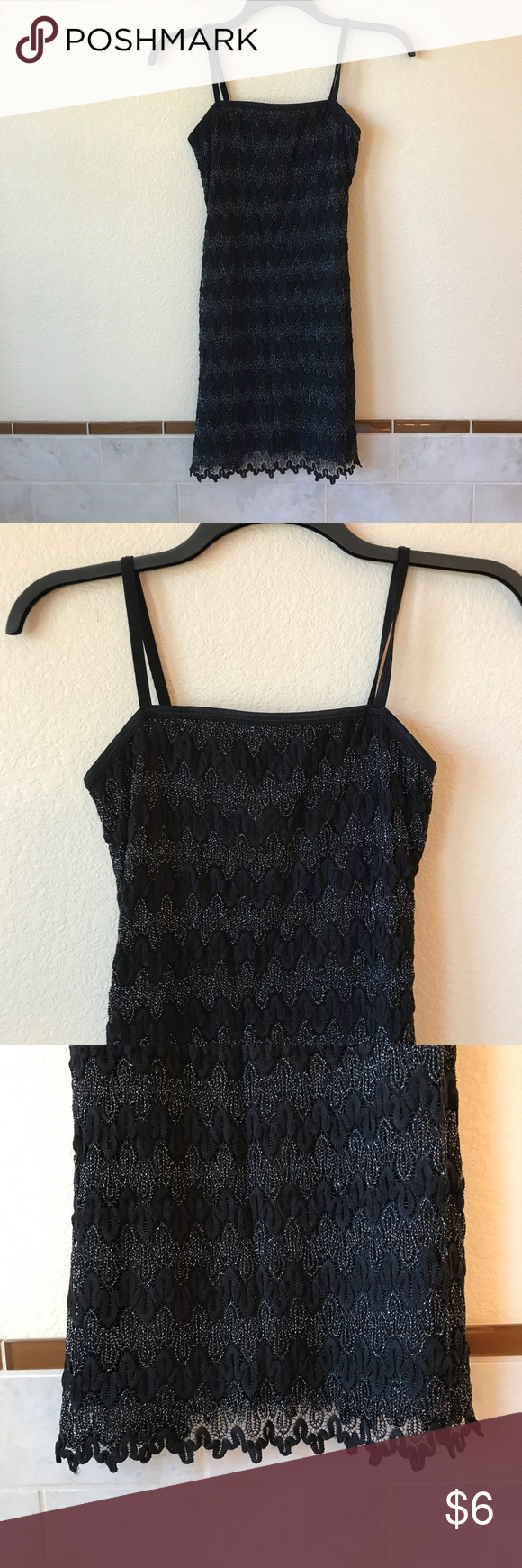 Womens Black Sparkle Sleeveless Dress Stretch Very Good Used Condition ~ No Stains or Holes Pullover Dress ~ Non-Adjustable Elastic Spaghetti Straps Stretch Material ~ Fully Lined ~ Lacy Bottom Hem  Silver Metallic Stitching ~ USA Made