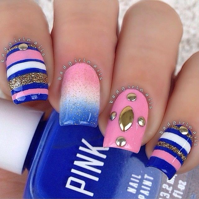Pink & navy blue nail art design - Pink & Navy Blue Nail Art Design Polka Dot Nail Designs