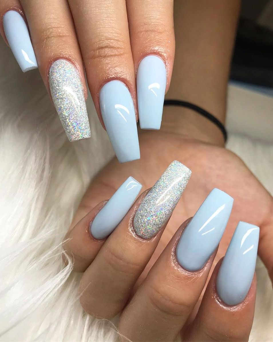 120 Best Coffin Nails Ideas That Suit Everyone Blue Glitter Nails Blue Coffin Nails Blue Acrylic Nails