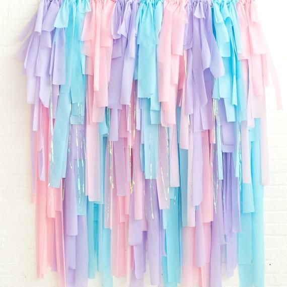 Fringe Streamer Backdrop Pastel Pink, Purple, Aqua - Cotton Candy Party - Mermaid Party Backdrop