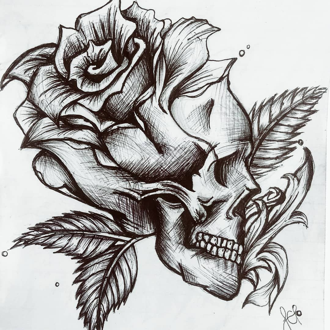 Ig Lenka Mcf N Rs E S Skull Rose Draw Calavera Pen Lapicero Black Dibujos Notas Rose D In 2020 Skulls Drawing Tattoo Art Drawings Skull And Rose Drawing