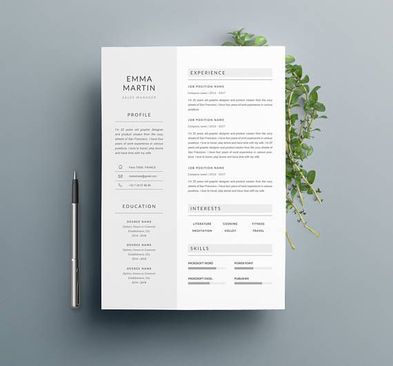 Contemporary Resume Templates Modern Resume Template Emma & Cover Letter 4  Resume  Pinterest