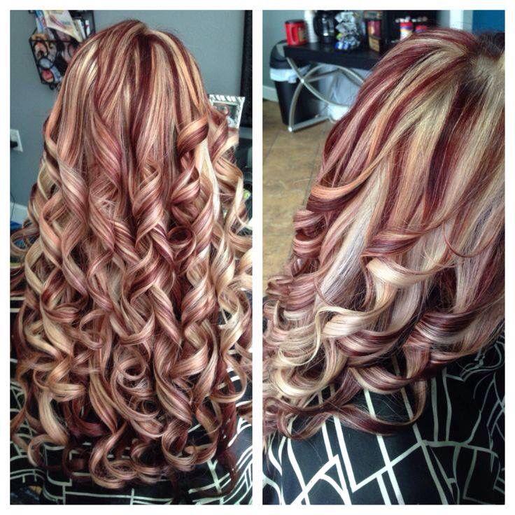 Blonde Red And Curly Brown Blonde Hair Burgundy Hair Hair Styles