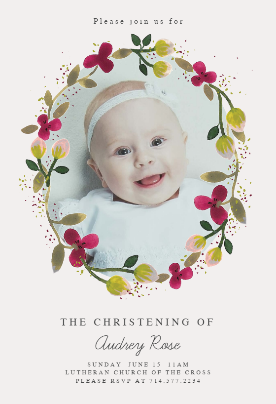 Floral Happiness Baptism Christening Invitation Template Free Greetings Island Christening Invitations Dedication Invitations Floral Invitations Template