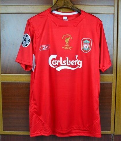 Gerrard 2005 Liverpool Champions League Final Retro Soccer Jersey Classic  Shirt 917f03a75c3ea