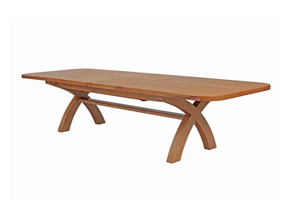 12 14 Seater Cross Leg Extending Large Oak Dining Table
