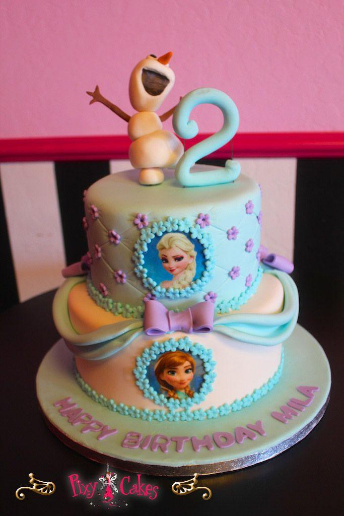 birthday cake girl 2 tiers frozen blue snow winter snowman edible