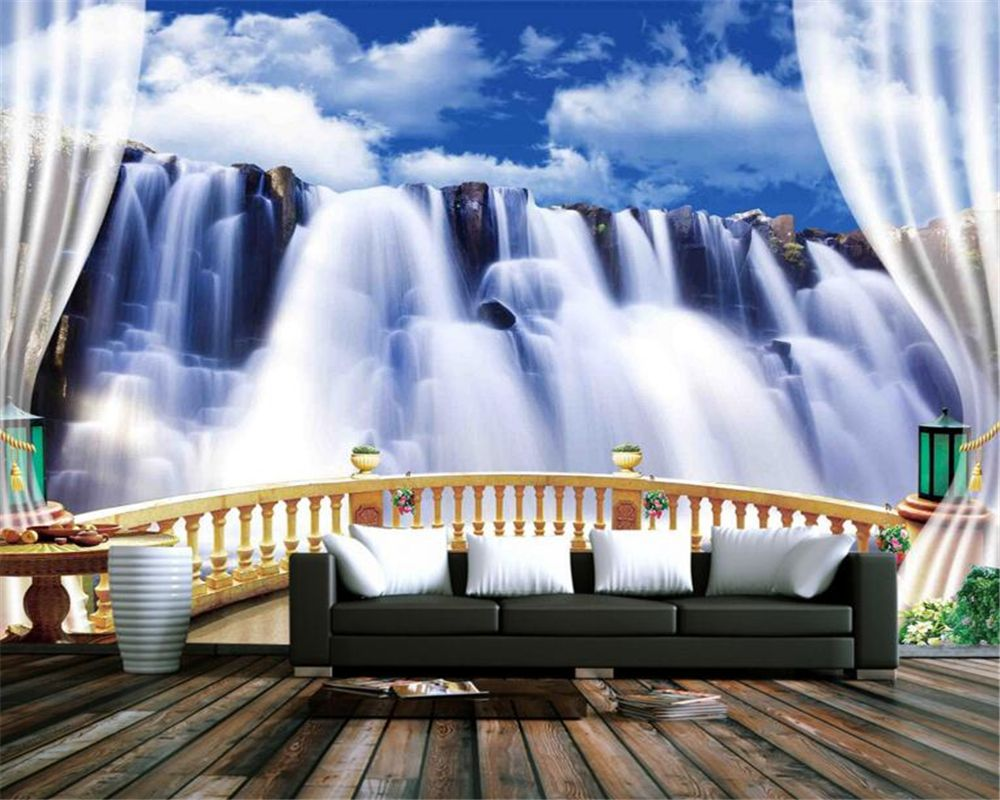 beibehang custom 3d wallpaper balcony waterfall scenery wallpaper tv