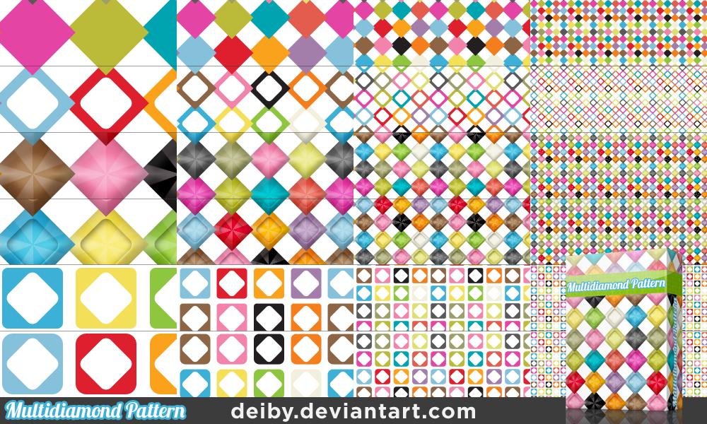 Multidiamond Pattern by deiby.deviantart.com on @deviantART  このパターンカラフルで使い勝手が良さそう。