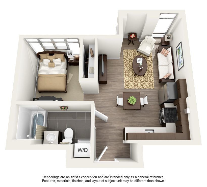 Floor plans for an in law apartment addition on your home for Decorating a small one bedroom apartment
