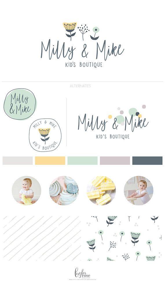 Cute Logo Baby Boutique Logo Childrens Branding Fun Logo