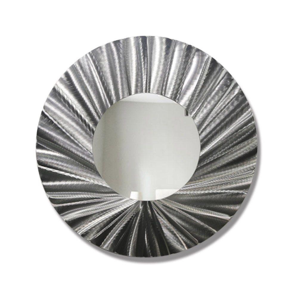 Large Round Silver Modern Metal Wall Mirror Contemporary Metallic