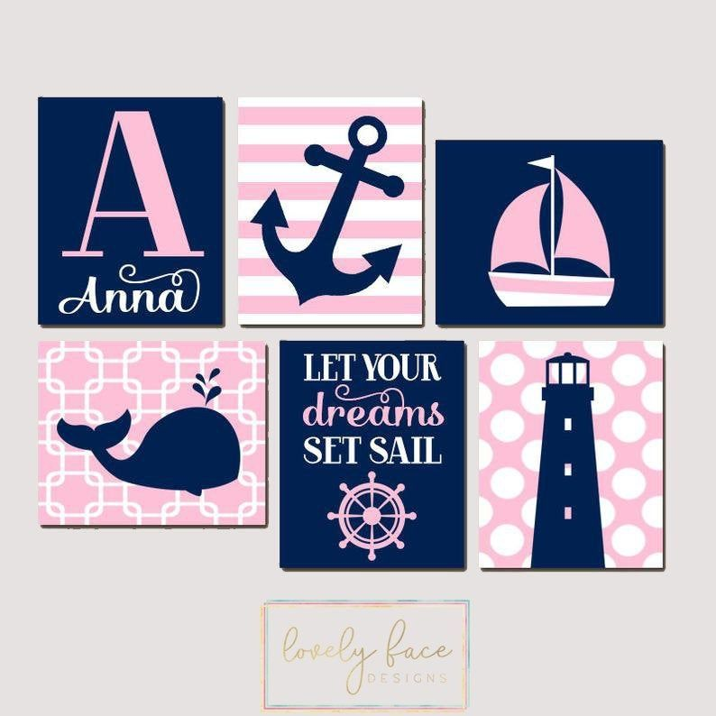 Photo of Girl Nautical Decor Prints or Canvas Wall Art, Nautical Baby Shower Gift, Girl Nautical Nursery Decor,  Nautical Birthday Gift, Set of 6
