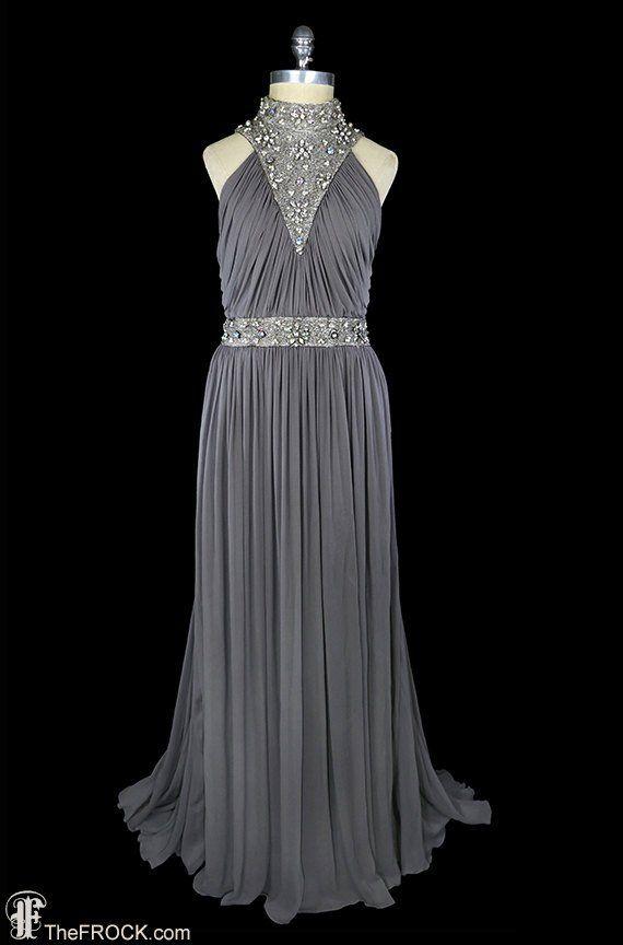 106d1682eacb 1940 gown, beaded chiffon dress, art-deco sleeveless halter, rhinestone gray  grey silk grecian godde