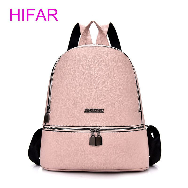 e412052ea443 2018 Simple Style Backpack Women PU Leather Backpacks For Teenage Girls  School Bags Fashion Vintage Solid Black Shoulder Bag
