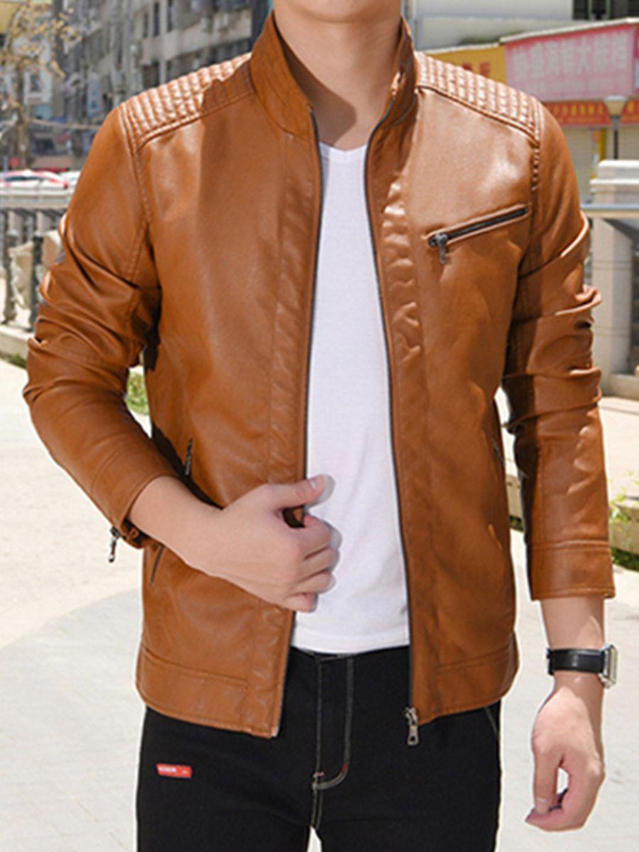 Motor Style Zipper Thicken Warm Slim Men S Pu Jacket Leather Jacket Men Leather Jacket Pu Jacket [ 1200 x 900 Pixel ]