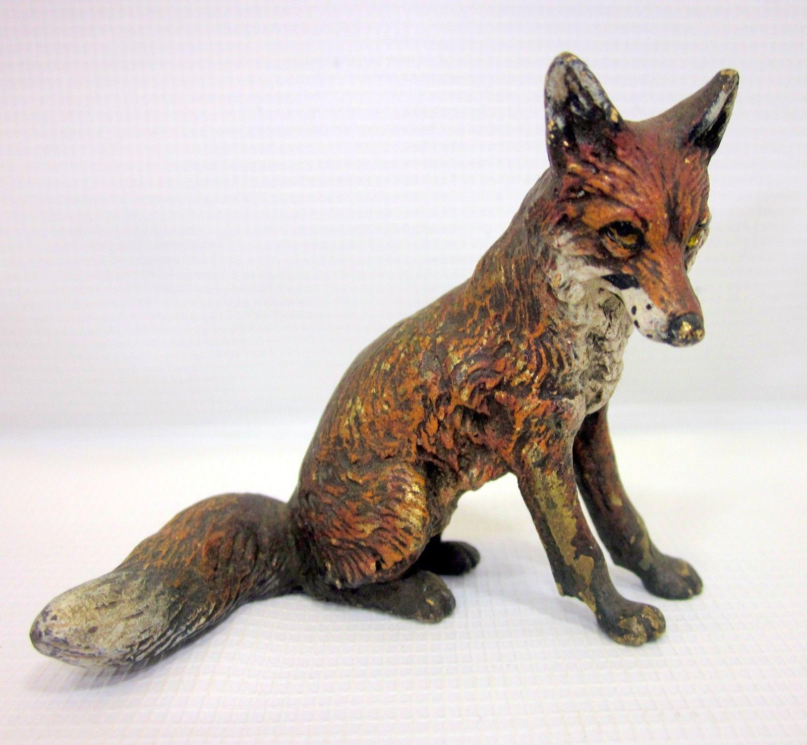 Antique Austrian Vienna ColdPainted Bronze Sitting Fox